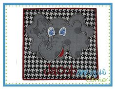 Elephant Head for Name Patch Applique Design