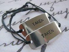 His and Hers TAKEN bracelet Set of 2 TAKEN by giftforbestfriends