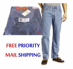$34.99 Free EXP Ship Men's Levi's 550 Relaxed Fit Jeans 33x30 Light Stonewash NEW/NWT $58RET #Levis #jeans