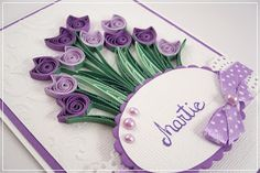 • Sweet Handmade • Quilling Birthday Cards, Paper Quilling Cards, Origami And Quilling, Quilling Paper Craft, Quilling Flowers, Paper Flowers, Paper Crafts, Quilling Patterns, Quilling Designs