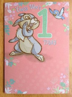 "Disney #'thumper' 1st #birthday card #-glitter effect-hallmark -6.75""x4.75"" - age,  View more on the LINK: 	http://www.zeppy.io/product/gb/2/141233162508/"