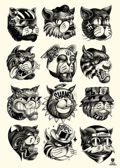 """Sergeant Paper has two new art prints by French artist Shane up for sale. """"Sha-ne and """"Sha-ne are x giclees, have editions of and cost € Cartoon Drawings, Cartoon Art, Tattoo Chat, Dessin Old School, Tatto Old, Tatuagem Old School, Tattoo Flash Art, Art Prints For Sale, Art Graphique"""