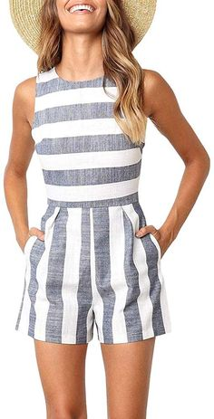 Balanla Casual Striped Blue Romper Colors) Balanla Casual Striped Blue Romper Colors),clothes Meet your new go-to for beach days, lunch on the boardwalk and summer pool parties! We love this little striped. Look Fashion, Trendy Fashion, Cheap Fashion, Mode Outfits, Fashion Outfits, Summer Outfits, Casual Outfits, Summer Shoes, Beach Outfits