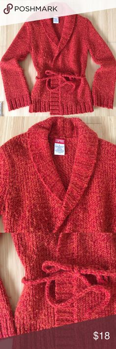 Fiery Red & Orange Shawl Collar Wrap Sweater Sm Cozy and colorful wrap sweater in variegated red and orange by Esprit (I know right?). Beautiful and bright and perfect for weekend lounging. Esprit Sweaters Cardigans
