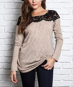 Look at this UMGEE U.S.A. Mocha Lace-Yoke Tunic on #zulily today!
