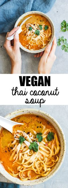 This northern-style vegan thai coconut soup recipe is a healthy and easy meal th. - snacky snacks - This northern-style vegan thai coconut soup recipe is a healthy and easy meal that is made with Tha - Coconut Soup Recipes, Thai Coconut Soup, Veggie Recipes, Whole Food Recipes, Healthy Recipes, Thai Vegetarian Recipes, Recipes Dinner, Thai Curry Recipes, Fast Recipes