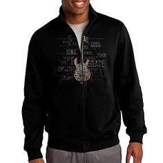 Zepu Mens Sweatshirt The Best Guitar Player Fullzip Hoodie Jacket L Black -- You can find more details by visiting the image link.