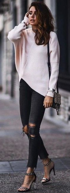 Batwing Blush Sweater + Black Ripped Jeans                                                                             Source