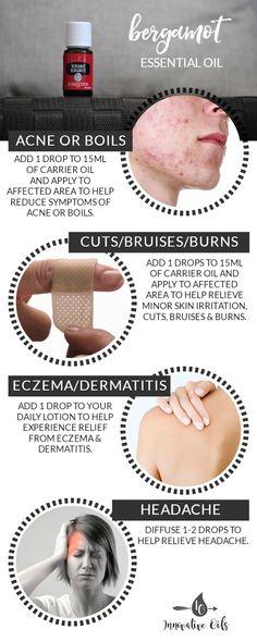 BENEFITS AND USES FOR BERGAMOT ESSENTIAL OIL #bergamot #acne #boils #cuts #bruises #burns #eczema #dermatitis #headache #yleo #essentialoils