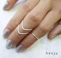 Set of 3 // 2 Chevron Above Knuckle Rings and 1 Band Ring // Silver Plated Wire on Etsy, $9.95