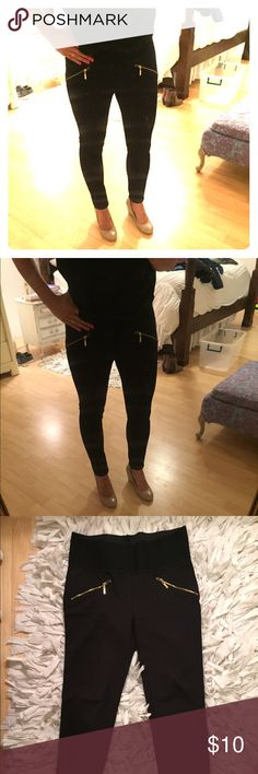 Stretch black pants with wide waist band Super comfy black stretch pants- wide waist band. They are pretty long- I have them rolled under in the picture which works well if you aren't tall (I'm 5'4) Pants Skinny