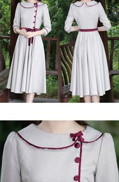 Material: made of brocadeColor Wine Grey Size reference Size Shoulder Bust Sleeve Length Waist Length S Stylish Dresses For Girls, Stylish Dress Designs, Elegant Dresses For Women, Simple Dresses, Cute Dresses, Sleeves Designs For Dresses, Dress Neck Designs, Kurti Neck Designs, Frock Fashion