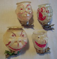 antique figural head candle holders, clip-on Christmas ornament