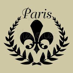 Paris Shabby Chic Fleur de Lis Wreath Reusable Stencil - for fabric, wood, paper, canvas, walls - 6.5x5.5