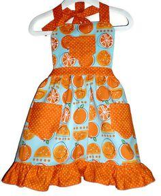 Children's Apron Baking Apron Orange Slice by KelleenKreations