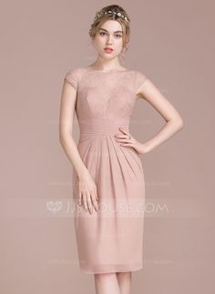 785c0dfb Sheath/Column Scoop Neck Knee-Length Ruffle Zipper Up Cap Straps Sleeveless  No Dusty Rose Spring Summer Fall Winter General Plus Chiffon Lace  Bridesmaid ...