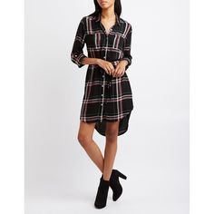 Charlotte Russe Belted Plaid Shirt Dress ($29) ❤ liked on Polyvore featuring dresses, black combo, long plaid shirt dress, longsleeve dress, long sleeve plaid dress, shirt dress and charlotte russe dresses
