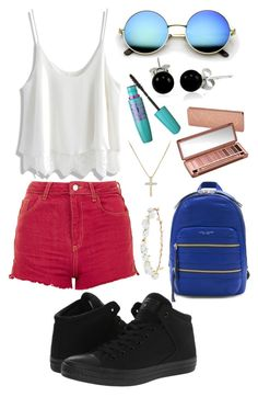 """""""Red,White,and Blue team USA"""" by flower-girl-21 on Polyvore featuring Chicwish, Topshop, Marc Jacobs, Robert Rose, Bling Jewelry, Urban Decay, Maybelline, Converse, David Yurman and WardrobeStaples"""