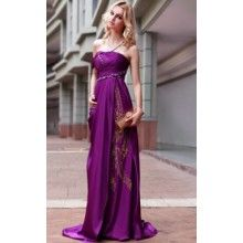 WOW! Strapless Sweep/Brush Train Princess Formal Evening Dresses With Beading Draping Pattern/Print - $244.99