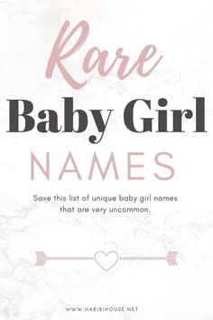 Veldig unike navn på jente Very Unique Baby Girl Names Are you looking for a rare and unique baby girl name? We have a list 25 very unique baby girl names that will amaze you! We included most of the meanings. Baby Girl Names List, List Of Girls Names, Girls Names Vintage, Middle Names For Girls, Baby Girl Names Unique, Girl Names With Meaning, Rare Baby Names, Names Girl, Unisex Baby Names