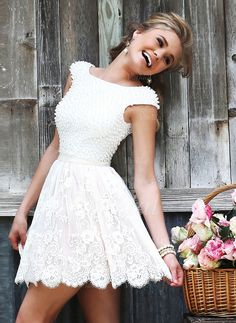 Wedding Dresses - $126.50 - A-Line/Princess Scoop Neck Short/Mini Lace Wedding Dress With Beading (0025058516)