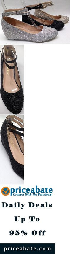 #Priceabate NEW Chase & Chloe Wedge Low Heel PROM WEDDING HOMECOMING GLITTER RHINESTONE shoe - Buy This Item Now For Only: $29.99