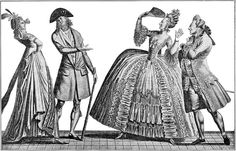 "A 1793 contrast between French fashions of 1793 and ca. 1778, showing the large style changes which had occurred in just 15 years. The couple on the left, dressed in bleeding-edge up-to-the moment styles of 1793, is saying ""AH! QUELLE ANTIQUITÉ!!!""; while the couple on the right, dressed in formal court styles of ca. 1778, is exclaiming ""OH! QUELLE FOLLIE QUE LA NOUVEAUTÉ...."