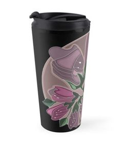 Art fot travelers. Art nouveau dusty pink floral print travel mug. High quality product designed by independent artist. Perfect gift for her.#ArtForTravelers