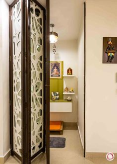 God Room Door Design: 6 Unique Ideas to Suit Your Home Pooja Room Door Design, Door Design Interior, Interior Ideas, Bathroom Interior, Temple Design For Home, Mandir Design, Partition Design, Puja Room, Home Decor Furniture