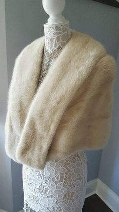 814bbedb007 Luxury Vintage Mink Fur Stole - Ivory Bridal Fur Shawl Wrap - Mink Cape -  Mink Shrug Bolero Capelet -Wedding Bridal Jacket - Real Fur