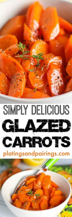 Simply Delicious Glazed Carrots -- Less than 15 minutes to the table - Simple and Yummy! Carrot Recipes, Vegetable Recipes, Vegetarian Recipes, Cooking Recipes, Healthy Recipes, Vegetable Sides, Vegetable Side Dishes, Side Dish Recipes, Thanksgiving Recipes