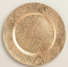 "13"" FAUX WOOD GOLD CHARGER (ACRYLIC)"