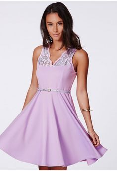 1a765e93ef083 Asmita Belted Skater Dress With Lace Detail - Skater Dresses - Missguided  Skater Dresses