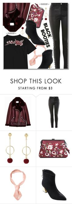 """Back to Basics: Black Booties"" by paculi ❤ liked on Polyvore featuring Topshop, blackbooties and darkflorals"