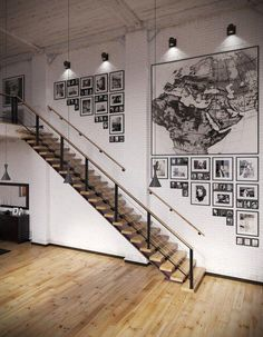 Fancy - Industrial Loft With Organic Traits [Visualized] RIP3D Industrial Loft- monochrome map and photographic display on white brick – Interior Design Ideas cool staircasr