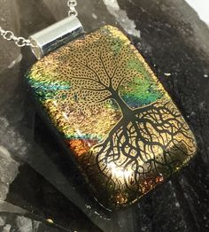 "Tree of life pendant handmade Dichroic glass kiln fused jewellery  3.5cm x 2.5cm /1.45"" X 1"" with 18"" chain gift box  spiritual growth reiki by hotglassfusions on Etsy"