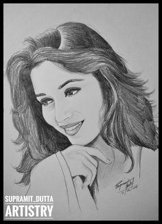 The Dhak-Dhak girl of Bollywood: Madhuri Dixit - Metarnews Sites Beautiful Pencil Sketches, Art Drawings Beautiful, Dark Art Drawings, Girly Drawings, Pencil Art Drawings, Realistic Drawings, Face Drawings, Pencil Sketch Portrait, Portrait Sketches
