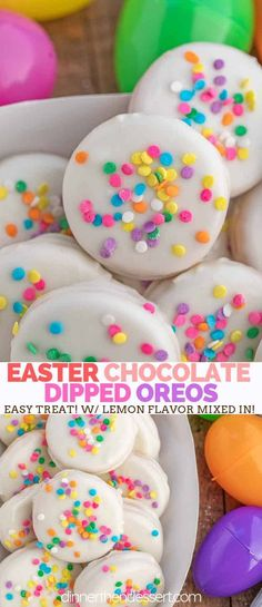 Jun 2019 - Easter Egg Chocolate Oreos made with Lemon Oreos dipped in white chocolate flavored with lemon extract and decorated with spring themed sprinkles for a fun Easter and spring themed treat! Oreo Dessert Recipes, Easy Easter Desserts, Quick Easy Desserts, Easter Recipes, Holiday Desserts, Holiday Treats, Holiday Drinks, Holiday Foods, Cookie Recipes