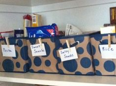 Make your pantry happy and more organized! I got these polka-dotted bins at the Dollar Tree today. Use clothes pins and labels. Organizing, Organization, Dollar Store Hacks, Pantries, Cliff, Dollar Tree, Nifty, Projects To Try, Polka Dots