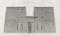 Edfou [Idfû] (Apollinopolis Magna). Élévation du pylône du Grand Temple.