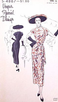1940s STUNNING Evening Cocktail Party Dress VOGUE SPECIAL DESIGN 4867 Side Cascade Drape Film Noir Style Bust 32 Vintage Sewing Pattern