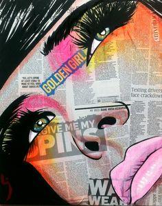 "28 May 2015 – ""Naughty But Nice"" Portrait of US singer Katy Perry Acrylic & newsprint on canvas 100 x 120 cm I came across a photograph of ""pop . Desenho New School, Pop Art, Frida Art, Newspaper Art, Urban Art, Mixed Media Art, Collage Art, Art Inspo, Amazing Art"
