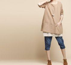 Light Pink  loose cotton  Shirt  top Cotton dress  Big Size  Linen Women Blouse, via Etsy.