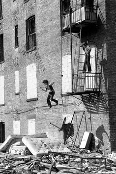 The Bronx, late 1970s. This could be me in 1950 remember jumping into mattresses off buildings