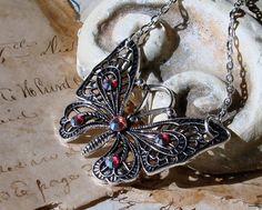 Silvery Butterfy Necklace Swarovski Crystals  by BlackStoneFoundry, $14.00