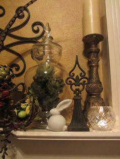 tuscan style decorating fireplace mantel   Tuscan Mantel Decorating Ideas