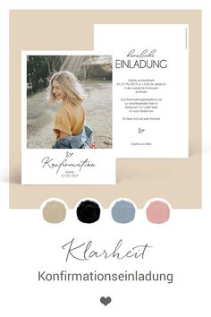 """Confirmation invitation Konfirmationseinladung """"Klarheit"""" As in a passepartout, you design this super modern stationery for your confirmation. Modern lettering elements are the icing on the cake on this invitation in postcard format (portrait) Wedding Invitations Elegantes, Vintage Wedding Invitations, Rustic Invitations, Printable Wedding Invitations, Invitation Design, Wedding Stationery, Postcard Format, Destination Wedding, Wedding Planning"""