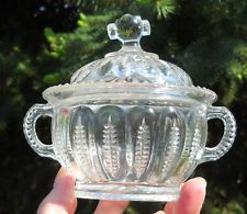 Northwood Zipper Variant Pressed Glass covered sugar bowl EAPG