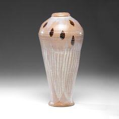 "William Staite Murray (1881-1962, Britain), Tall Korean-style Vase, stoneware, 15.5""x6.5,"" artist stamp at the foot."