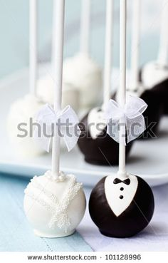 stock photo : Bride and groom cake pops